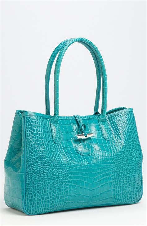 Croco Bag by Longch Roseau Croco Shoulder Bag In Blue Turquoise Lyst