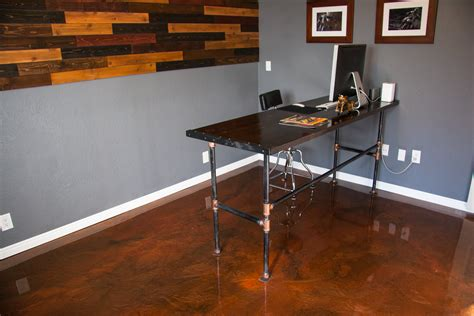 home office platinum metallic epoxy floor