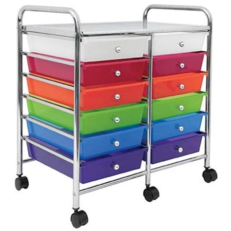 Colorful Drawers On Wheels 10 12 Or 20 Multi Color Drawer Organizer On Wheels Ebay