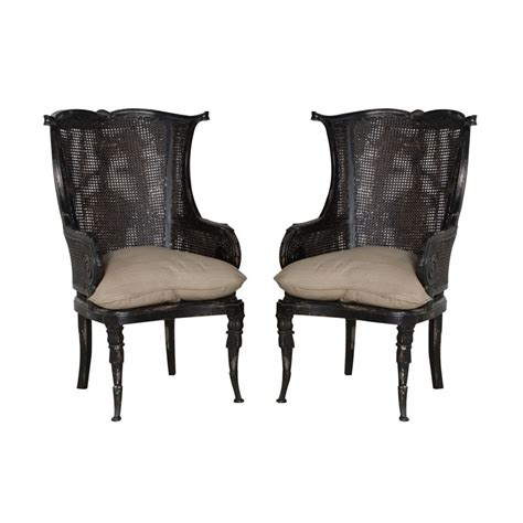 threshold black rattan wingback chair black rattan and mahogany caned wingback chair with muslin