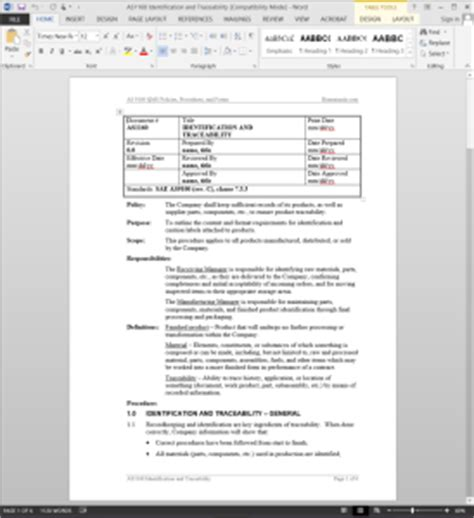 Identification Traceability Procedure As9100 Contract Review Checklist Template