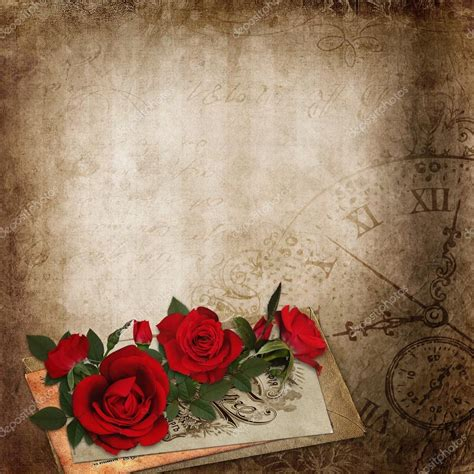 imagenes vintage rojas rosas rojas cartas antiguas en el fondo cutre vintage
