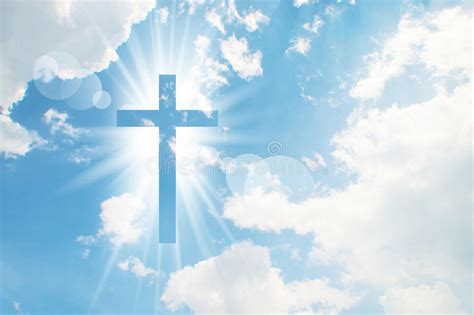 clipart rohani kristen christian cross appears bright in the sky stock image
