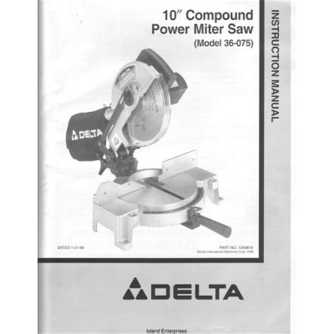 Delta 36 075 10 Quot Compound Power Miter Saw Instruction