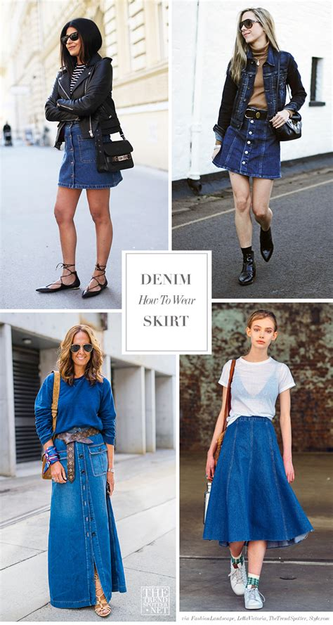 how to wear your denim skirt blue is in fashion this year