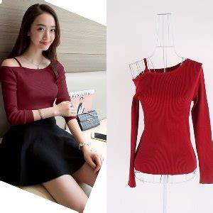Baju Blouse Sabrina Polka jual baju atasan sabrina blouse rajut wanita korea import putih white black di lapak myesha