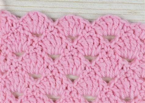 free pattern crochet shell stitch easy 4 row repeat gives a lacy yet textured look