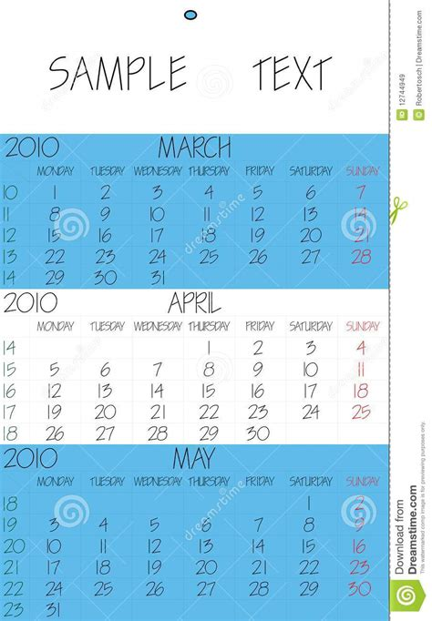 Calendrier Avril 2010 Calendrier Anglais 2010 Avril Images Libres De Droits