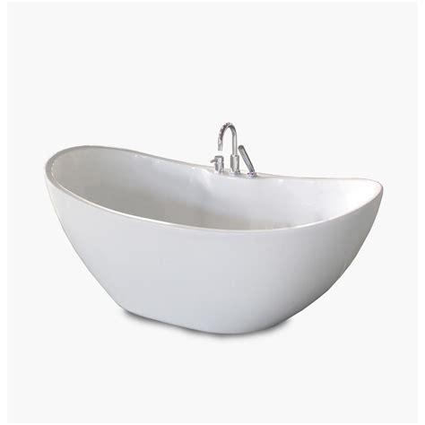 all in one bathtub renwil boreal 69 in acrylic freestanding flatbottom non whirlpool bathtub in white
