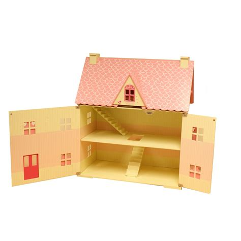 pink wooden dolls house rose cottage girls pink wooden wood dolls doll house free 22 pce furniture set ebay