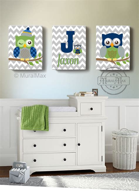 Baby Owl Nursery Decor Boys Wall Baby Nursery Decor Owl Canvas Owl Canvas
