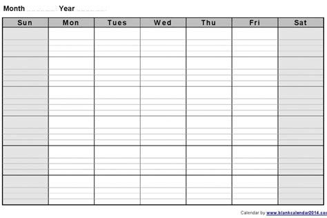 Printable Lined Monthly Calendar : Free Calendar Template