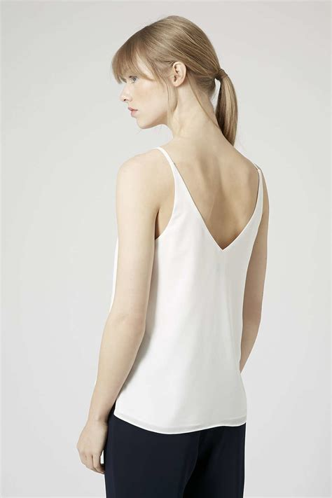 Topshop Vs by Topshop Plunge V Neck Cami In White Lyst