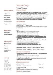 Sample Music Teacher Resume Music Teacher Cv Template Job Description Resume