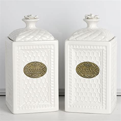 mud pie 4931002 kitchen canister set of 3 white buy country kitchen canister sets perfect gift for country