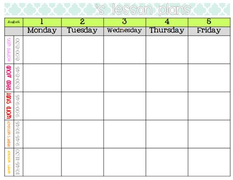 weekly lesson plan format images frompo 1