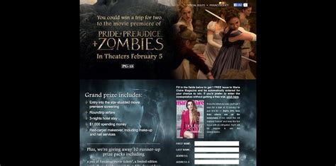 Marie Claire Sweepstakes - marie claire s pride and prejudice and zombies sweepstakes