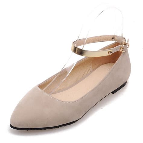 chic flat shoes chic flat pumps with ankle suede beige womens shoes
