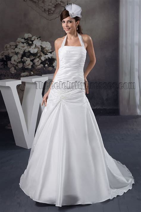 Discount Wedding Dresses Halter by Discount A Line Halter Beaded Taffeta Wedding Dresses