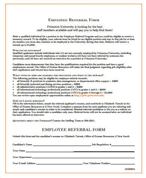 employee referral form sle employee referral form 10 exles in word pdf