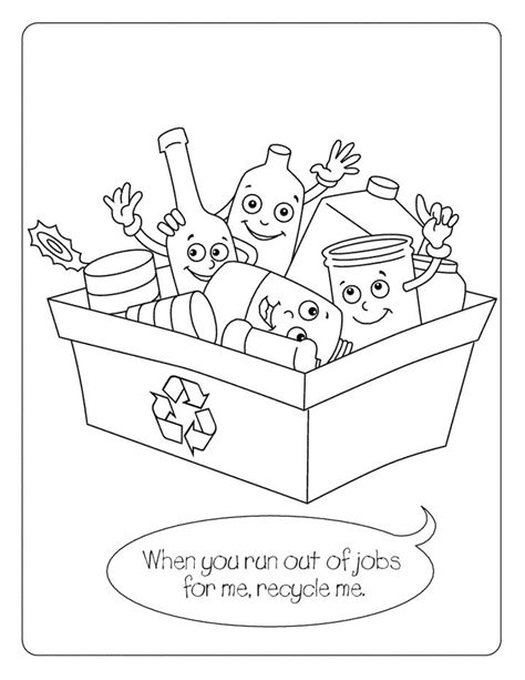 recycling coloring pages for kids coloring home