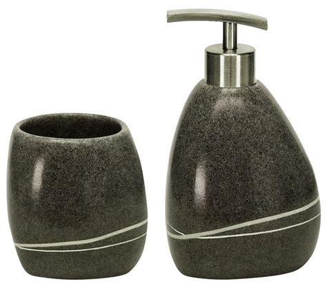 Modern Grey Bathroom Accessories Polyresin Modern Bathroom Accessories Set Of 2