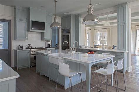 Gray Kitchen Island with White Ikea Bar Stools   Cottage