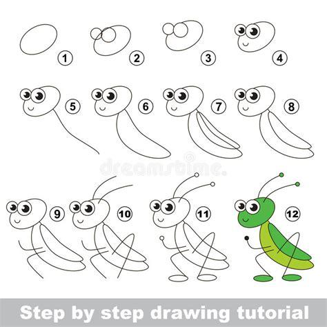 tutorial vector simple grasshopper drawing tutorial stock vector illustration