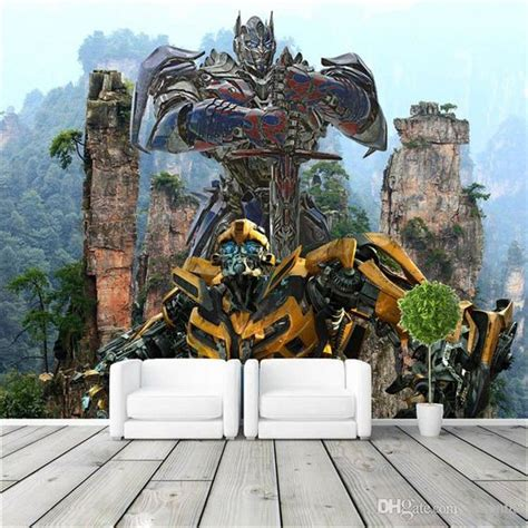 transformers wall mural 3d custom large size transformers photo wallpaper optimus prime and bumblebee wall mural