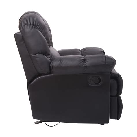 Single Leather Recliner Chair by Homcom Leather Rocking Sofa Single Recliner Chair Black
