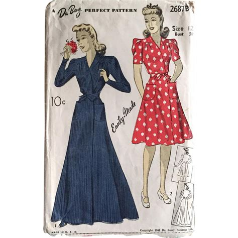 sewing pattern house dress vintage authentic original 1941 1940s wrap house dress