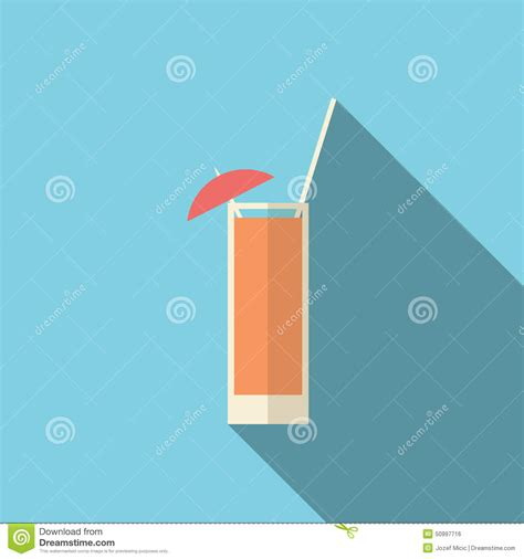 modern drink cocktail with orange icon flat style vector illustration