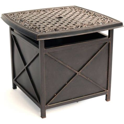 hanover outdoor traditions cast top side table umbrella