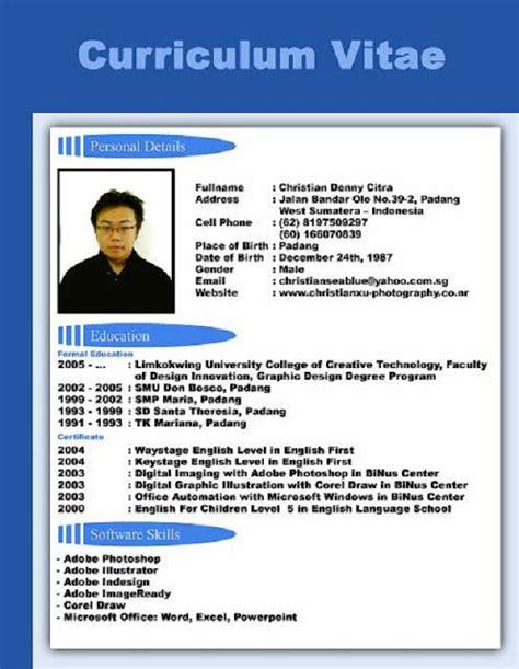 format curriculum vitae untuk narasumber contoh format curriculum vitae dalam bahasa inggris