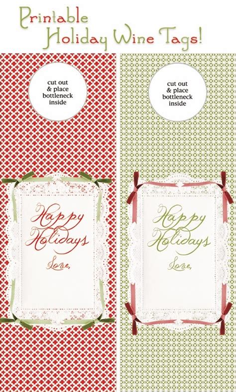 Printable Wine Gift Tags | printable holiday wine tags pictures photos and images