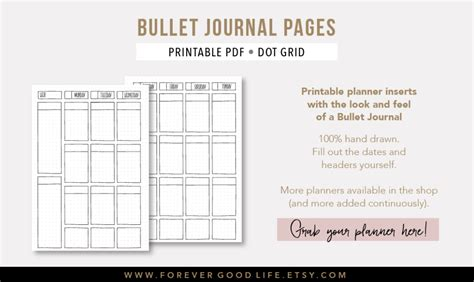 printable bullet journal instructions printable bullet journaling pages