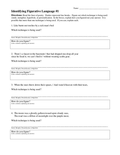 Figurative Language Worksheet by Figurative Language Worksheet 1