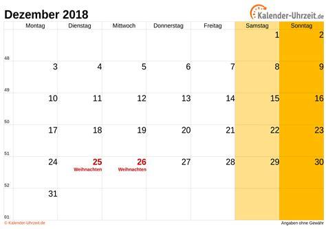 Kalender Dezember 2018 Dezember 2018 Kalender Mit Feiertagen
