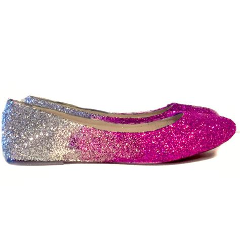 pink flats shoes sparkly pink fucshia silver glitter ballet flat wedding