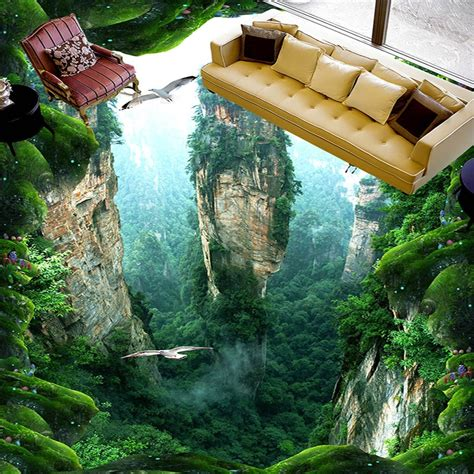 Custom 3D Mural Floor Wallpaper Cliff Scenery PVC Wear