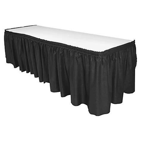 genuine joe linen like pleated table skirts 14 x 29 black