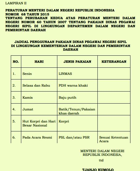 Daftar Pakaian Dinas Pns Aturan Baru Pakaian Dinas Pns Sesuai Permendagri Nomor 68