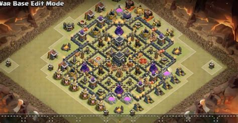 layout coc base war th9 clash of clans bomb tower th9 newhairstylesformen2014 com