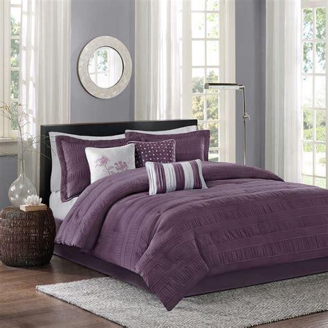 beautiful modern chic grey purple plum silver pinch pleat ruffle comforter set ebay