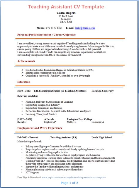 resume templates for a teaching position teaching assistant cv template sle resume for daycare
