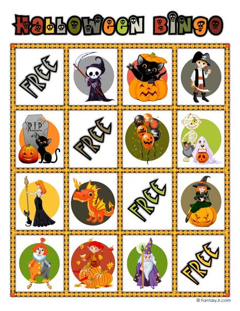 printable halloween bingo cards with pictures halloween bingo card 12 woo jr kids activities