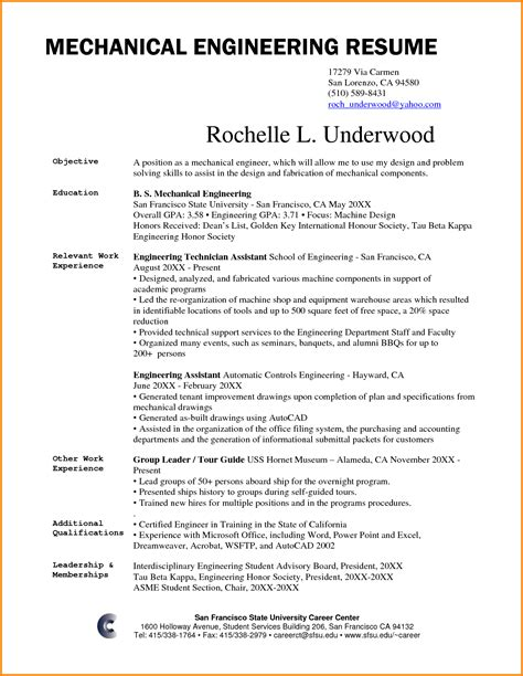 Engineering Resume Exles by Career Objective For Mechanical Engineer 28 Images