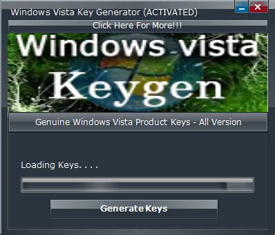 windows vista activator and keygen free working