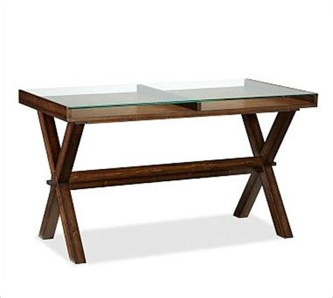 Wood And Glass Desk by Wood Glass Display Desk Espresso Stain Traditional Desks And Hutches By Pottery Barn