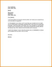 Letter Of Resignation Regret by 4 Resignation Letter Sle 2 Weeks Notice Expense Report